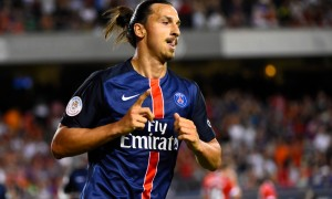 Jul 29, 2015; Chicago, IL, USA; Paris Saint-Germain forward Zlatan Ibrahimovic (10) reacts after scoring a goal against the Manchester United during the first half at Soldier Field. Mandatory Credit: Mike DiNovo-USA TODAY Sports ORG XMIT: USATSI-230948 ORIG FILE ID:  20150729_krj_ad4_0109.JPG